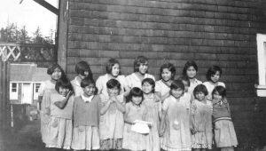 Girls outside, Ahousaht Indian Residential School