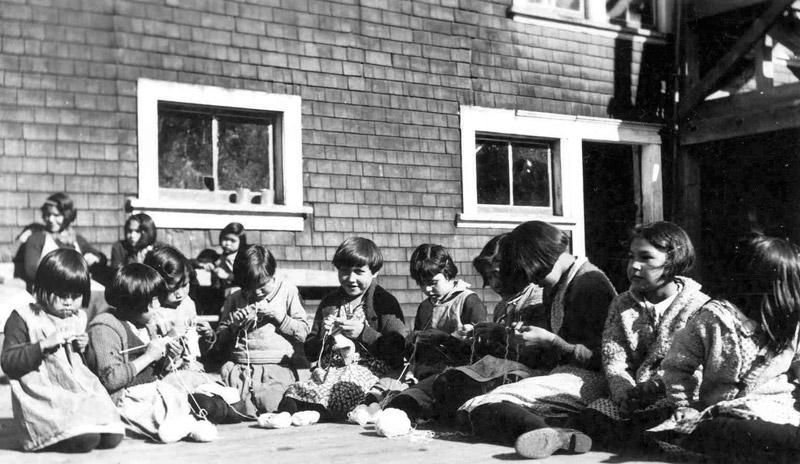Knitting class, Ahousaht Indian Residential School, 1939