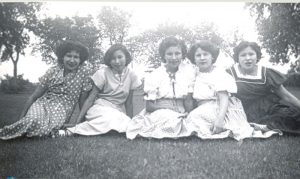 Five girls from the 1951-1952 senior sewing class, Portage la Prairie Indian Residential School.