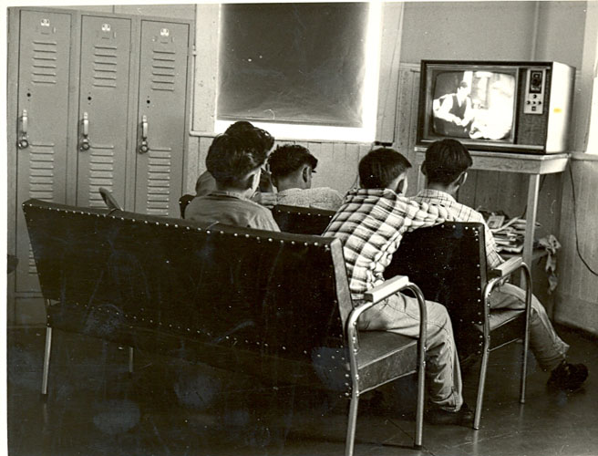 Boys watching television, Portage la Prairie Indian Residential School.