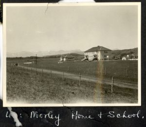 Morley Indian Residential School at a distance.