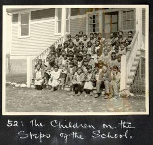 Children on the school steps, Morley Indian Residential School
