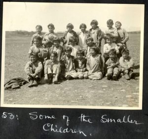 Some of the younger children, Morley Indian Residential School.