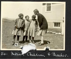 A teacher and three students, Morley Indian Residential School.