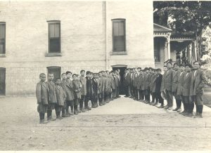 Boys lined up at the Mount Elgin Institute.