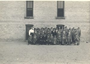 Boys with some of the staff, Mount Elgin Institute.