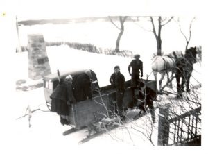 Two staff going into Balcarres by sleigh, File Hills Indian Residential School.