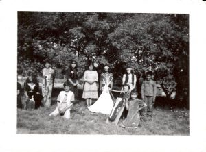 Students in theatrical costume, Round Lake Indian Residential School: