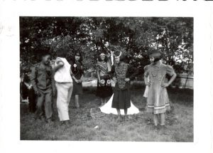 Students in theatrical costume, Round Lake Indian Residential School.