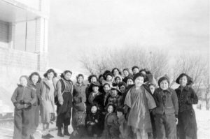 Girls from Round Lake Indian Residential School outside the mission.