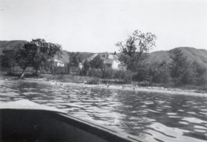 View of the residence and the school from the lake.