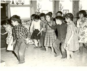 Group of children performing a song with action.