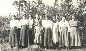 Older girls from Poplar River attending Norway House Indian Residential School.