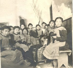 Girls in sewing class at Norway House Indian Residential School.