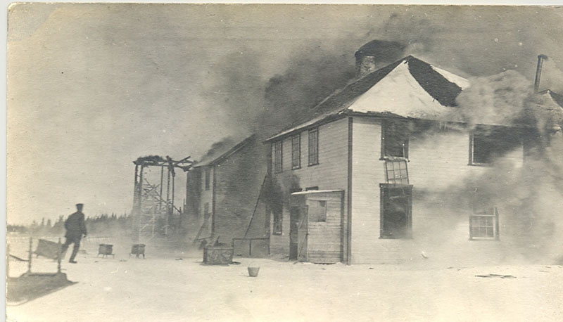 Norway House, IRS in flames.