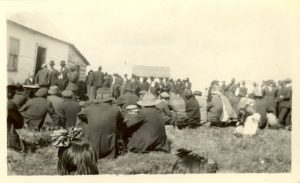 The Cree quarterly council receiving their treaty money.