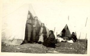 Cree women camped at Norway House, Manitoba, at treaty time.