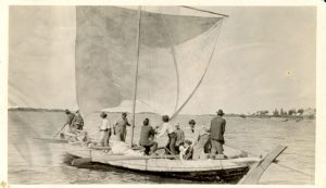 People on boat setting sail for Oxford House.
