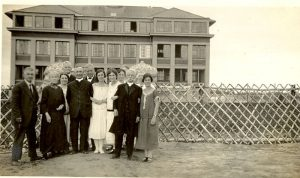 Visiting Reverends with staff of Norway House Indian Residential School, 1925.