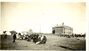 Parents camp on the grounds of Norway House Indian Residential School, 1925.