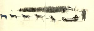Winter travel: dog team pulling a woman in a sleigh, with reverend standing, Norway House.