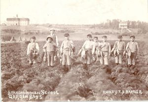Boys harvesting carrots, with their instructor watching, Brandon Industrial Institute.
