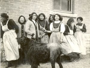 Girls with dog at Brandon Industrial Institute