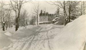Brandon Industrial Institute in wintertime, side view.