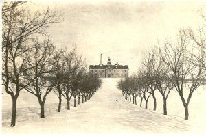 Road to Brandon Industrial Institute in wintertime.