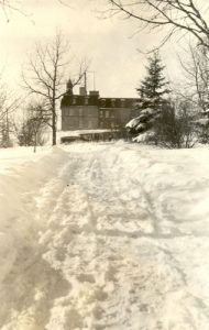 Brandon Industrial Institute in winter, side view.