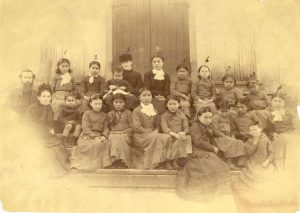 Staff and girls of Methodist school, Port Simpson.