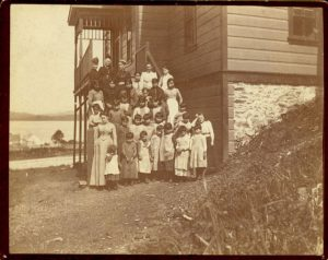 Staff and students on the steps of Crosby Girls' Home, Port Simpson.