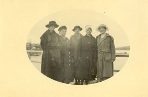 Staff of Crosby Girls' Home leaving Port Simpson