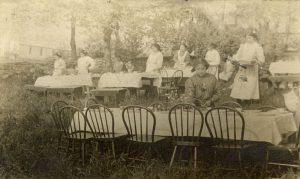 Girls setting tables for May 24th picnic, Crosby Girls' Home, Port Simpson.