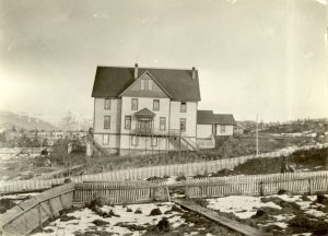 Crosby Girls' Home, Port Simpson, with snow on the ground.