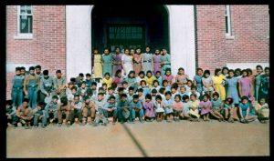 Pupils in front of Brandon Industrial Institute.