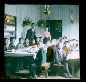 Boys in the dining room, Brandon Indian Residential School.