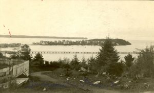 View of [Rose?] Island and the sea from the hospital hill, Port Simpson.
