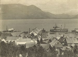 View of Port Simpson, looking out towards the harbour.