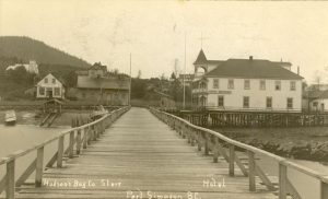 View of wharf showing buildings.