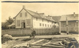 View of Hudson's Bay Company store and manager's house, Port Simpson.
