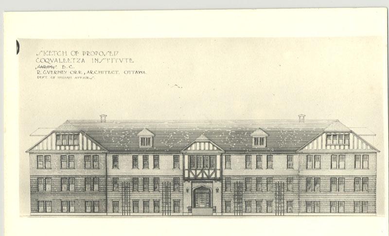 Sketch of proposed Coqualeetza Institute, Sardis, British Columbia, circa 1920.