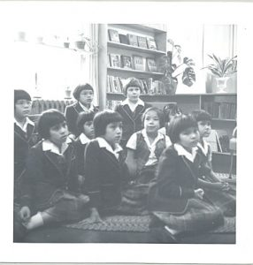 Vice-Principal reading to a class, Alberni Indian Residential School, 1964.
