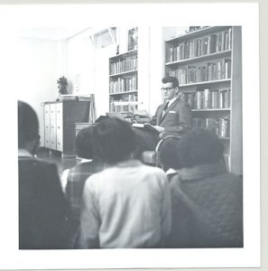 Vice Principal reading to a class, Alberni Indian Residential School, 1964.