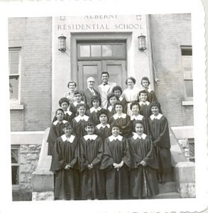 Staff and part of the Alberni Indian Residential School Choir