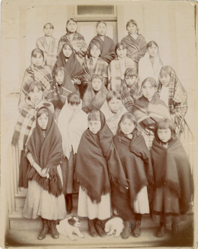 "Girls ""when they first start school,"" Elizabeth Long Memorial Home, Kitamaat."