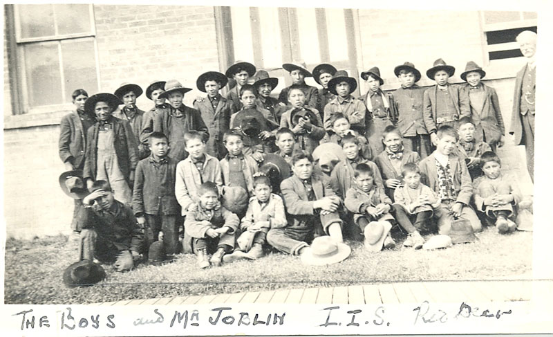 The boys and a teacher, Red Deer Institute