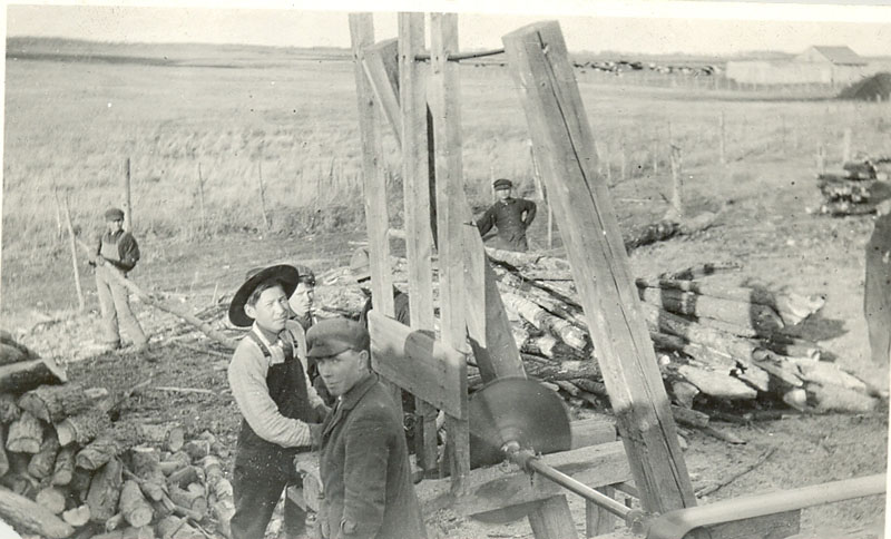 Students cutting wood, Red Deer Institute.