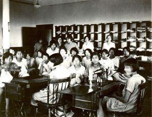 Girls' sewing class, Edmonton Indian Residential School.