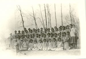 Group of female students, Edmonton Indian Residential School.